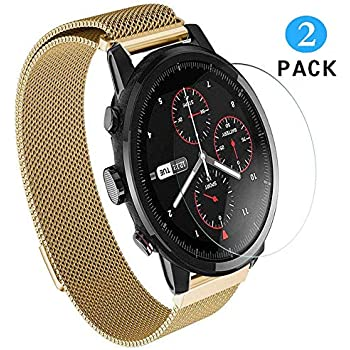 Xiaomi Huami AmazFit Stratos Smart Watch 2 Screen Protector, Vicstar 9H Hardness Bubble Free Easy Install Anti-Oil Premium Tempered Glass Film for Xiaomi ...