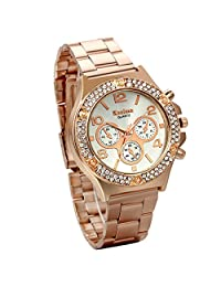 JewelryWe Luxury Women Men Unisex Rose Gold Stainless Steel Bracelet Quartz Wrist Watch