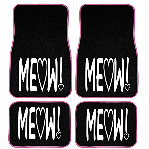 UAA 4pc Cat Lover Cute Friendly Pet Girly Front & Rear Carpet Floor Mat Set (Cute Car Mat Sets compare prices)