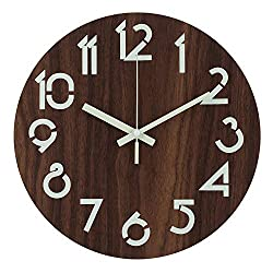 Ryuan 12 Inch Illuminated Wooden Wall Clock, Silent Non-Ticking Battery Operated Rustic Vintage Country Tuscan Style Decorative Round Wall Clocks for Kitchen Living Room Office