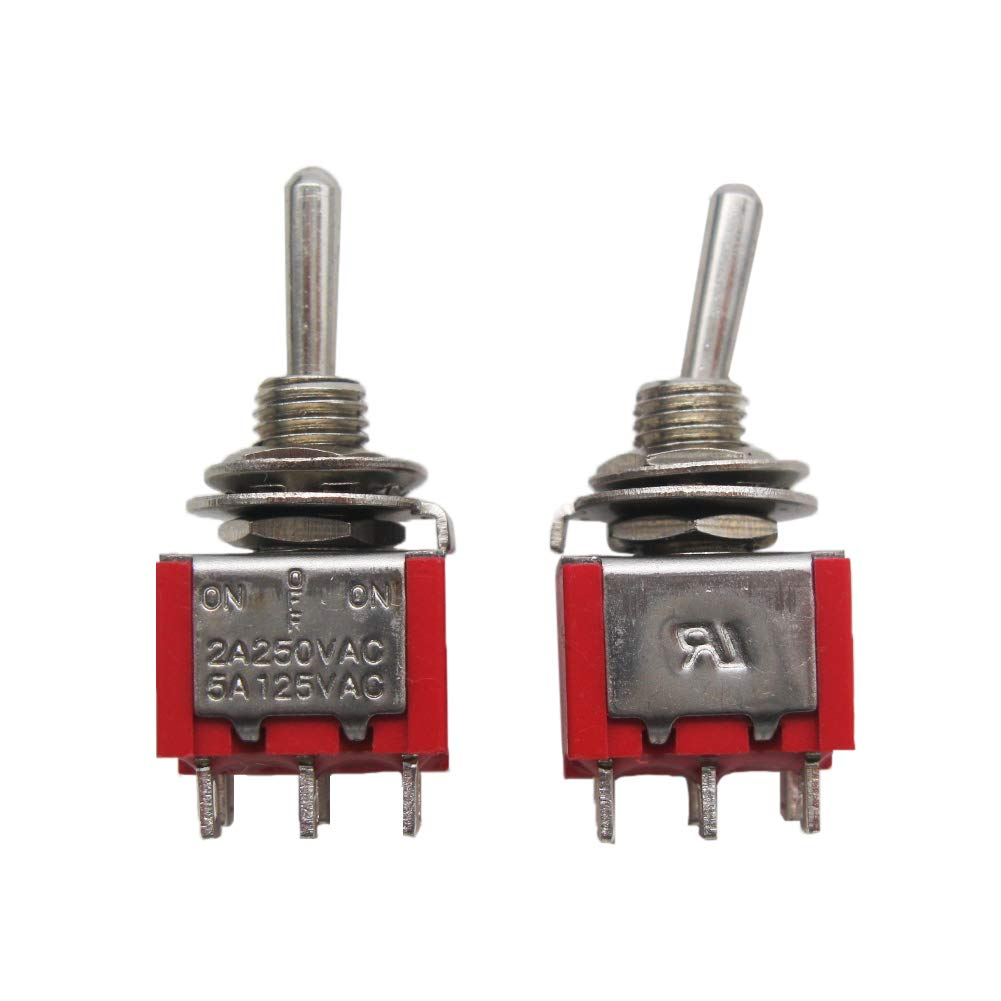 mxuteuk 10pcs MTS-202 6 Terminal 2 Position DPDT Mini Miniature Toggle Switch Car Dash Dashboard ON//ON 5A 125V 2A 250V