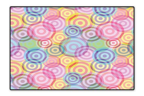 Stain Resistant Rug Geometric Circles Rounds in Vivid Colors Retro Design with Abstract Background Color for Living Room Dining Room Family 6'6