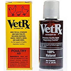 VET RX Poultry (2oz) for The Relief and Prevention of Colds, Roup, Scaly Legs and Eye Worm