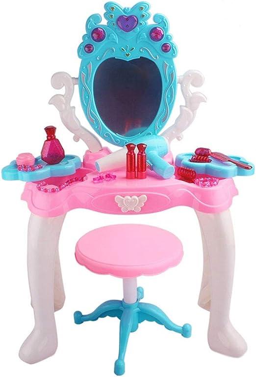 Tocador de maquillaje glamour para niñas Juego de tocador para niños con espejo y banco - Mesa de maquillaje para niños - Pretend Dress Up - Juguetes para niñas y más Juego