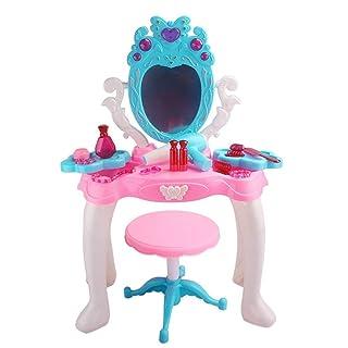 Toy Dresser Vanity Set da Trucco per Bambini con Specchio e Panca - Tavolo da Trucco per Bambini - Finta di Vestire - Giocattoli per Ragazze e Fino Dressing Table Princess