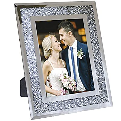 "Decorative Picture Frame 8""x10"" Photo Holder Glass Mirror with Sparkling Crystal Boarder. Use Standing with Included Easel or Ready to Hang. - MODERN DESIGN - Modern real glass picture frame with sparkling crystal border that perfectly fits any decor. The frame can hold a 8x10 inch photo. EASY TO DISPLAY - With the pre-installed brackets and standing easel, ready to mount on the wall or to display on the desktop. The frame can hold a 5x7 inch photo, A lovely picture frame to decorate a wall, Vertically and Horizontally. UNIQUE PHOTO FRAME - Perfect for your home, office, studio or gallery. Not only a great addition to any room, but also a perfect gift to anyone. - picture-frames, bedroom-decor, bedroom - 51Y8qjtP4jL. SS400  -"