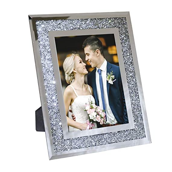 """Decorative Picture Frame 8""""x10"""" Photo Holder Glass Mirror with Sparkling Crystal Boarder. Use Standing with Included Easel or Ready to Hang. - MODERN DESIGN - Modern real glass picture frame with sparkling crystal border that perfectly fits any decor. The frame can hold a 8x10 inch photo. EASY TO DISPLAY - With the pre-installed brackets and standing easel, ready to mount on the wall or to display on the desktop. The frame can hold a 5x7 inch photo, A lovely picture frame to decorate a wall, Vertically and Horizontally. UNIQUE PHOTO FRAME - Perfect for your home, office, studio or gallery. Not only a great addition to any room, but also a perfect gift to anyone. - picture-frames, bedroom-decor, bedroom - 51Y8qjtP4jL. SS570  -"""