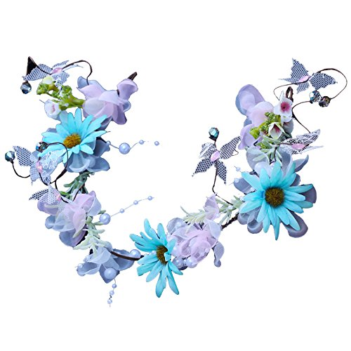 Olici Bridal Wedding/Prom Hair Pins/Headdress Accessories/Party/Girls Blue Daisy Hoop Portrait Beach Pictures Ornaments Artificial Flowers Pearls Es And ()