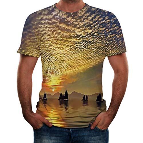 TOPUNDER Men Summer New Full 3D Printed T Shirt Plus Size S-3XL Cool Printing Top ()