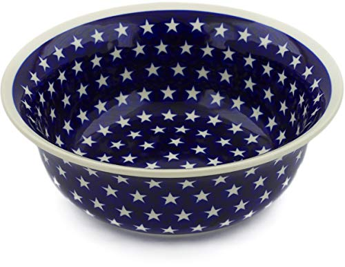 - Polish Pottery 10-inch Bowl (America The Beautiful Theme) + Certificate of Authenticity