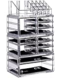 """Cq acrylic Large 9 Tier Clear Acrylic Cosmetic Makeup Storage Cube Organizer 11 Drawers. It Consists 4 Separate Organizers, Each Which Can be Used Individually -9.5""""x6.5""""x14.5"""""""