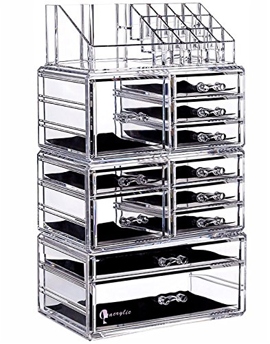 Cq acrylic Large 9 Tier Clear Acrylic Makeup Organizer Cosmetic Storage Cube Case with 11 Drawers-4 Piece Set ()