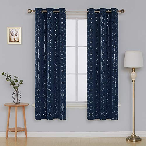 Deconovo Sliver Diamond Foil Print Grommet Window Panels Thermal Insulated Blackout Curtains for Kids' Room 42x84 Inch Navy Blue 2 Curtain Panels
