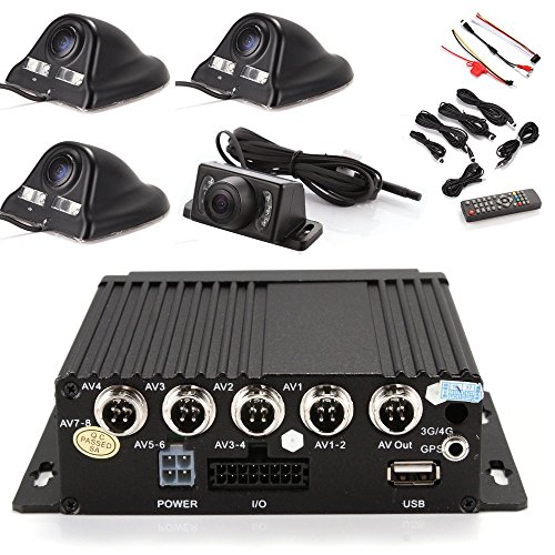(Wen&Cheng 4CH 720P Mobile AHD DVR Realtime Video/Audio Recorder with Remote Control + 4 pcs Sony CCD Lens 130MP Camera (Black) + 4pcs Cables for Car Bus Truck Black Box Security Surveillance System)