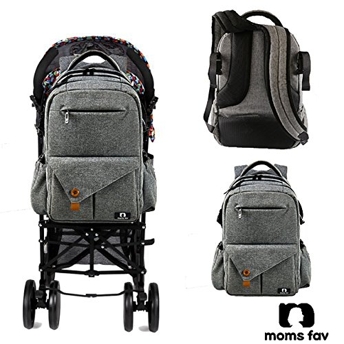 MOMS FAV Multi-function D-Grey Large Baby Diaper Bag Backpack with Stroller Straps-Insulated Bottle Pockets-Changing Pad, High Quality Nylon Fabric Waterproof Diaper Bags for Moms & Dads