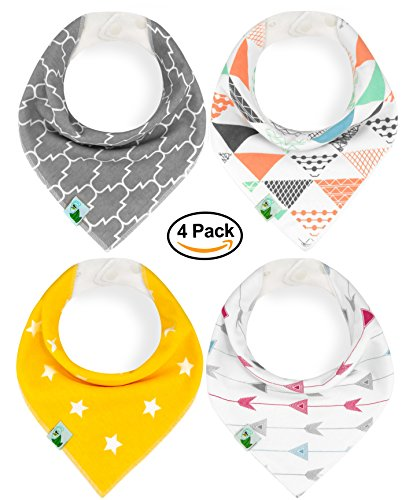 Baby Bandana Drool Bibs, Unisex 4 Pack Cute Bibs with Snaps - Best for Babies Drooling, Teething and Feeding - Soft, Absorbent & Hypoallergenic - Perfect Baby Shower Gift for Boys & Girls by (Snow White Outfit Ideas)