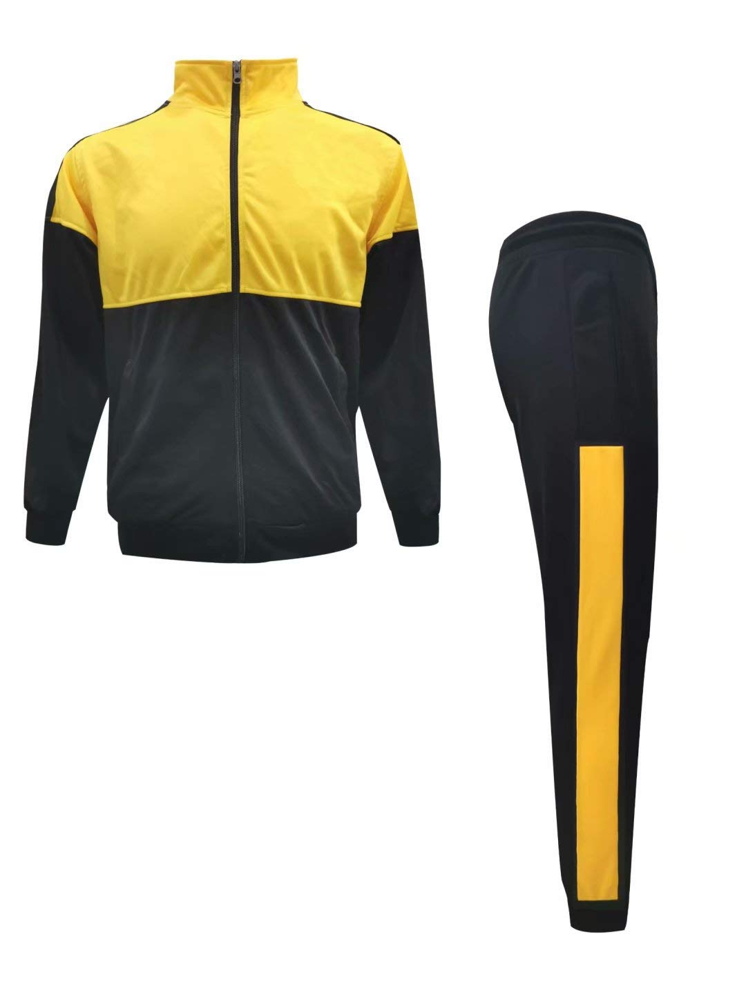Men's Athletic Casual Pant and Jacket Sweatsuit Set Black/Yellow by URBEX