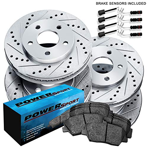 Fit Mercedes-Benz 190E Front Rear Drill Slot Brake Rotors+Ceramic Brake Pads