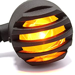 2x Amber Motorcycle Black Bullet Front Rear Turn Signal Blinker Indicator Light (Yellow Lens)
