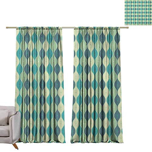 Grommet Window Treatment Set Abstract,Oval Curved Vertical Lines with Classic Effects Dots Retro Graphic, Sea Green Petrol Blue W84 x L108 -