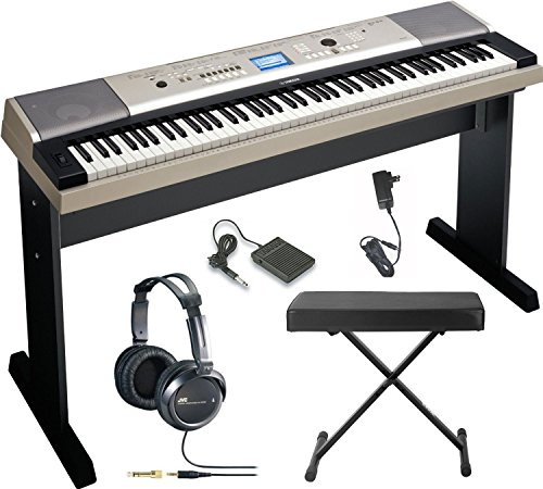 Yamaha YPG-535 88-key Portable Grand Graded-Action USB Keyboard with Matching Stand and Sustain Pedal  Knox Large X-Style Portable Keyboard Bench and JVC Full-Size Stereo Headphones