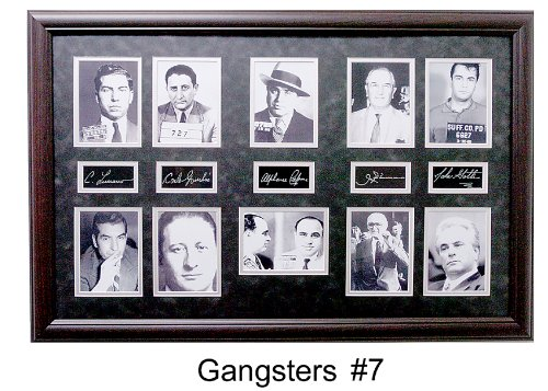 Gangster Collage Features: Capone, Luciano, Gotti & Giancana W/Facsimile Autographs Professionally Matted an Framed to a 24x36 Finished Size by C.A.A.
