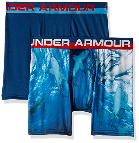 Under Armour Boys' Big 2 Pack Sublimation Print Performance Boxer Briefs, Petrol Blue-S19, YMD ()