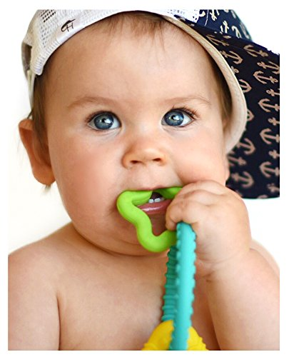 Nuby Chewy Charms Neutral/Star and Triangle Silicone Teether, Teal/Green/Yellow