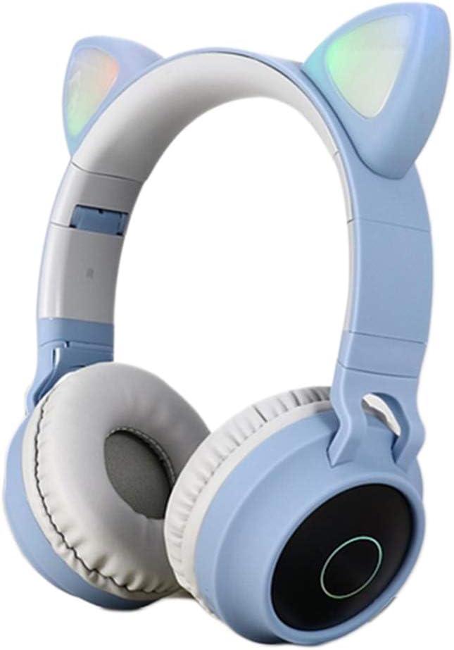 #N/A Bluetooth Stereo Cat Ear Headphones LED Light Flashing - Pink Blue