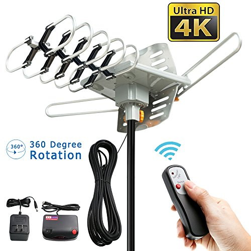 ile Motorized 360 Degree Rotation OTA Amplified HD TV Antenna for 2 TVs Support - UHF/VHF/1080P Channels Wireless Remote Control - 32.8' Coax Cable (VS-OTX01) ()