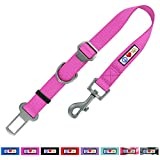 Cheap Pawtitas Dog Seat Belt with Restraining Strap for Pet Carrier Adjustable Strap Dog Training Puppy Training Pink Dog Seat Belt