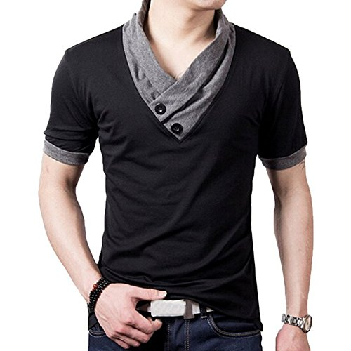 L'asher Men Summer Fashion Button V Neck Slim - Man Clothes