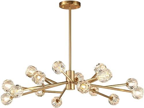 Modern Nordic 18 Lights Crystal Sputnik Chandelier,K9 Crystal Flush Mount Led Ceiling Light Pendant Chandeliers Lighting Fixture ,G9 LED Bulb Included Gold