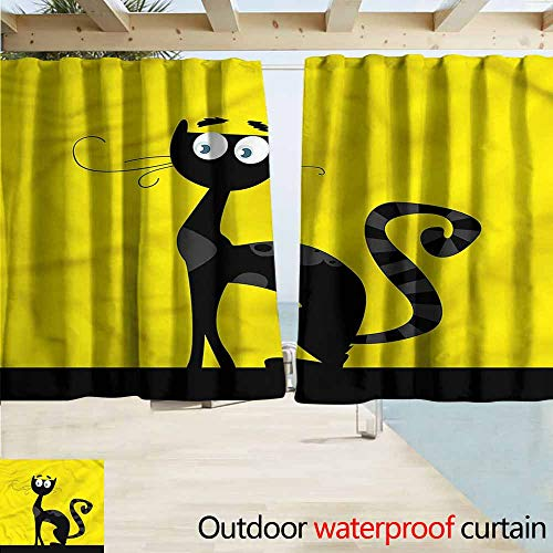 MaryMunger Indoor/Outdoor Print Window Curtain Cat Cartoon Style Drawing Halloween Simple Stylish Waterproof W55x45L Inches