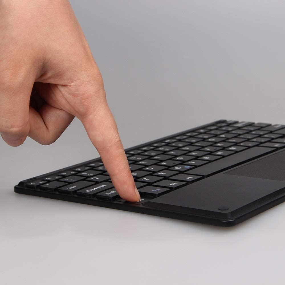 Bluetooth Keyboard Tablet PC Wireless Bluetooth Keyboard 10.1 Inch Folding Stand Intel Touch Suitable for Home Office Color : Black, Size : 257x172x6mm