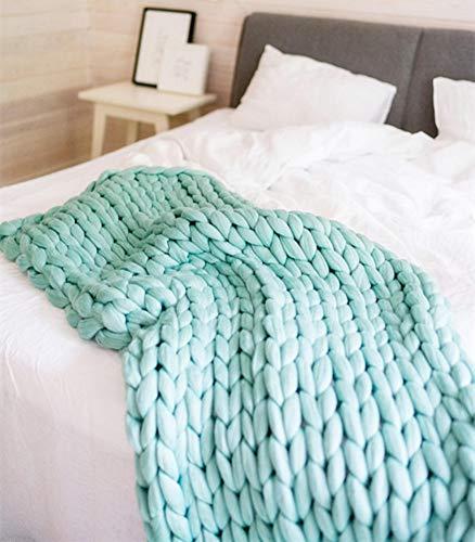 HomeModa Studio HomeModa Studio Super Chunky Knit Blanket, Merino Wool Blanket, Extrem Knitting, Chunky Blanket, Giant Super Chunky Knit Blanket (Light Green, Bed Runner -30X50 inches) price tips cheap