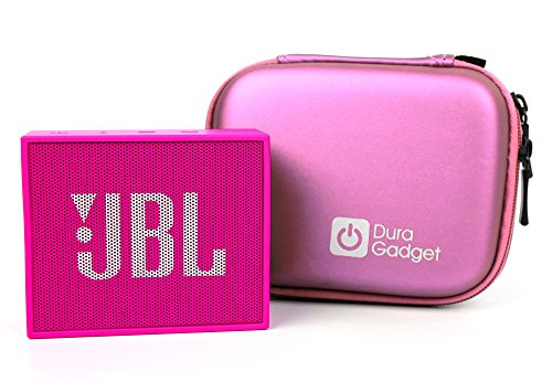 DURAGADGET Pink Hard Shell Carry Case with Carabiner Clip for The JBL GO 2 & JBL GO Portable Speaker