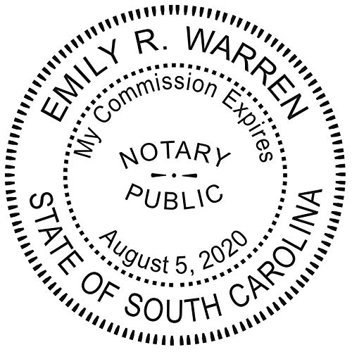 Round Notary Pre-inked Stamp for State of South Carolina- Customized in one day with