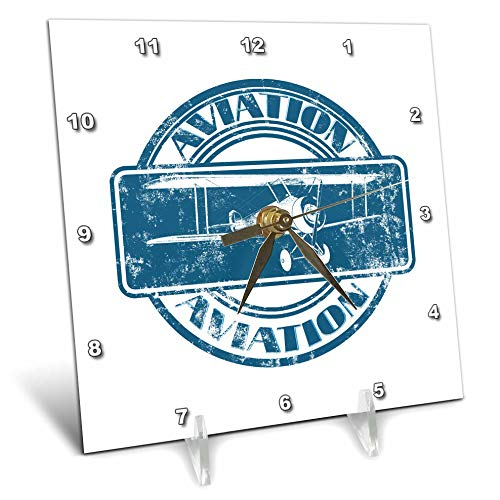 Aviation Nose Art - 3dRose Macdonald Creative Studios – Aviation - Classic Vintage Aviation Nose Art Design of a Vintage Biplane - 6x6 Desk Clock (dc_295413_1)