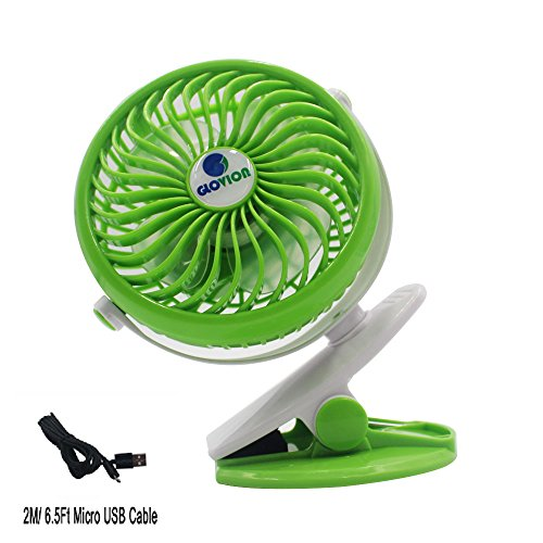 Price comparison product image Glovion Mini USB Table Desk Personal Fan, Clip on Stroller Fan with 2600mAh Battery and 6.5 ft Micro USB Charging Cable - Green