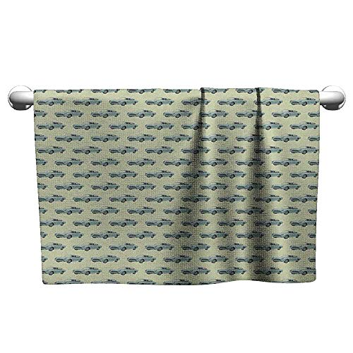 xixiBO Microfiber Towel W28 x L12 Cars,Out of Date Classic Automobiles Transportation Being on The Road Theme, Almond and Pistachio Green Water Absorption Multi-Purpose