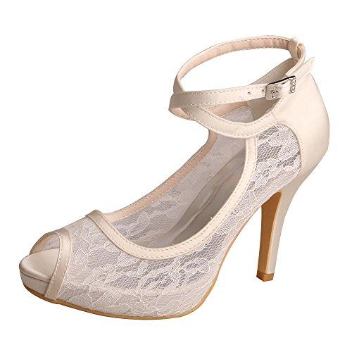 - Wedopus WD7008 Women Peep Toe High Heel Platform Ankle Straps Lace Wedding Shoes Bridal Size 6 Ivory