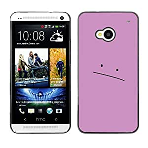 Caucho caso de Shell duro de la cubierta de accesorios de protección BY RAYDREAMMM - HTC One M7 - Cara rosada triste