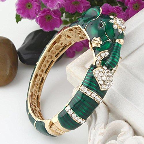 EVER FAITH® Email Vert Eléphant Bracelet Manchette Cristal Autrichien Plaqué Or N03841-3