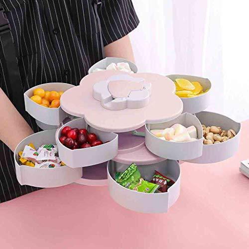 (NszzJixo9 Rotating Fruit Bowl Petal Shape Snack Storage Tray Home Living Room Petal-Shaped Nut Sundry Snacks Plastic Storage Box Double Layer Fruit Storage (Pink))