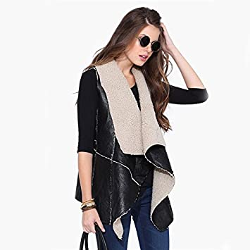 ef1a71c8bda1 ZQQ The Ladies Western Style Faux Leather Irregular Coat, Vest Top  Sleeveless Cardigan, Black