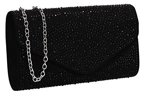 SWANKYSWANS Cadence Diamante Suede Envelope Womens Ladies Clutch Bag Black