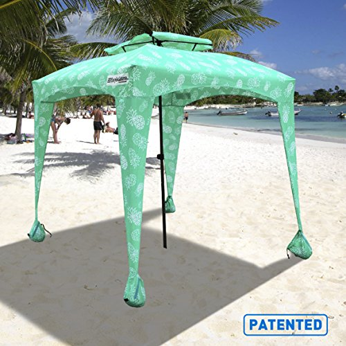 EasyGo Cabana - 6' X 6' - Beach & Sports Cabana Keeps You Cool and Comfortable. Easy Set-up and Take Down. Large Shade Area. More Elegant & Classier Than Beach Umbrella (Pineapple) ()