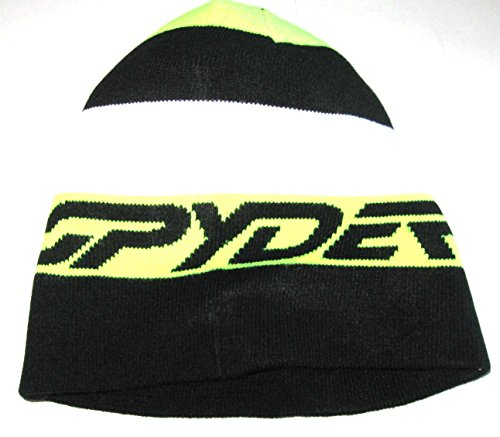 - SPYDER Winter Ski Snowboard Knit Reversible Skull Cap Beanie (Black/Neon Yellow/White)