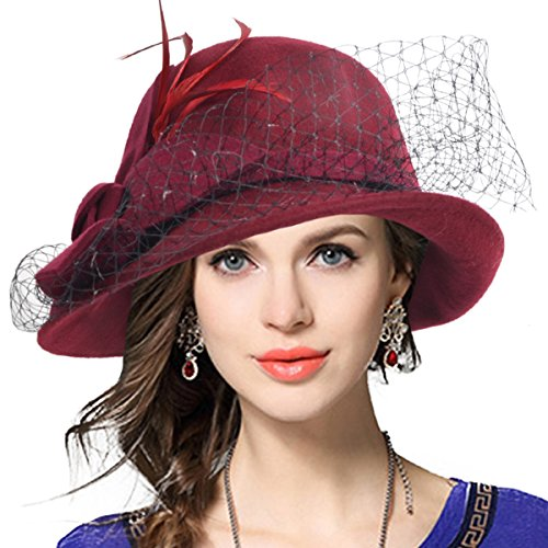 VECRY Women's Wool Church Dress Cloche Hat Plumy Felt Bucket Winter Hat (Veil-Claret) - Bucket Felt